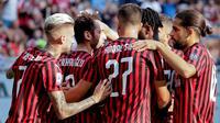 AC Milan memetik kemenangan 1-0 atas Brescia pada laga pekan kedua Serie A di San Siro, Sabtu (31/08/2019). (AP Photo/Luca Bruno)