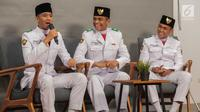 Rayhan Alfaro Ferdinand Siregar (Paskibraka Nasional 2019 DKI Jakarta), Rafi Ahmad Falah (Paskibraka Nasional 2019 Banten), dan Rangga Wirabrata Mahardika (Paskibraka Nasional 2019 Jawa Barat). (Liputan6.com/Faizal Fanani)