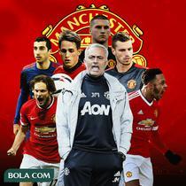 Manchester United - Jose Mourinho dan Pemain Manchester United (Bola.com/Adreanus Titus)