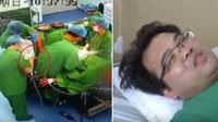 (Foto: Nextshark) Dr. Liang disuntik oleh rekannya dengan obat penghilang nyeri karena mengalami usus buntu ketika melakukan operasi.
