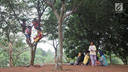 Anak-anak saat bermain di Taman Cempaka, Cipayung, Jakarta Timur, Minggu (7/7/2019). Banyak warga yang datang secara rombongan dengan membawa alas tikar dan makanan. (merdeka.com/Iqbal S Nugroho)