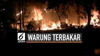 Kebakaran besar melanda puluhan warung di Bekasi Timur hari Kamis (18/7) malam. Api diduga berasal dari pembakaran sampah yang menyambar kayu bangunan.