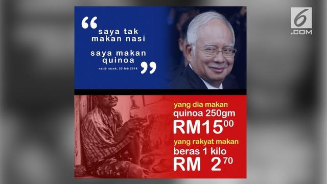 Perdana Menteri Malaysia, Najib Razak dikecam warganet Malaysia karena pernyataannya soal beras danm quinoa.