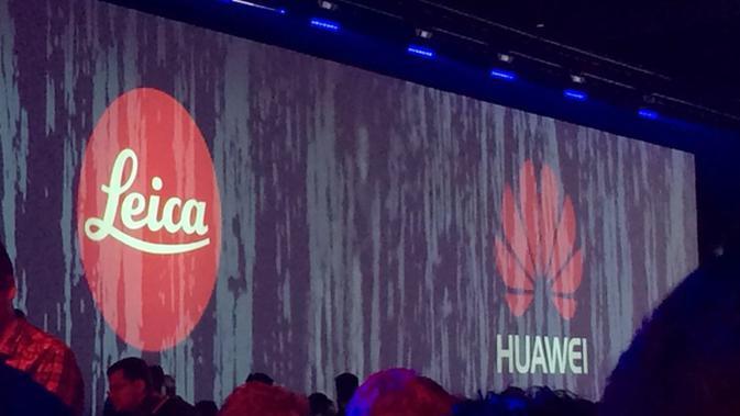 Logo Huawei dan Leica terpampang jelas di acara peluncuran Huawei P9 di Battersea Evolution, London, Inggris (Liputan6.com/ Andina Librianty)