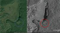 Kota suku Maya ditemukan lewat citra satelit. (Sumber Google Earth)