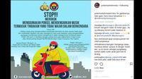 Larangan merokok dan mendengarkan musik saat berkendara. (Instagram @polantasindonesia)