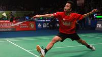 Tunggal putra Indonesia  Anthony Sinisuka Ginting meraih tiket perempat final BCA Indonesia Open Superseries Premier 2015 (Humas PP PBSI)
