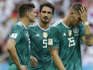 Jerman datang sebagai juara bertahan Piala Dunia 2014 namun performa Tim Panser selama Piala Dunia 2018 hanya berada pada Peringkat empat grup; sekali menang, dua kali kalah. (AP/Michael Probst)