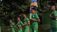 Pemain PSMS Medan berlatih di sela-sela kompetisi Liga 1. (Liputan6.com/Reza Efendi)