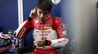 Pembalap Indoensia, Mario Suryo Aji saat tampil pada kualifikasi Moto3 FIM CEV 2019 di Ricardo Tormo, Valencia, (Sabtu 9 November 2019) (Astra Honda Racing Team)