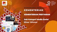 Kementerian Pertanian meraih penghargaan Silver Winner pada ajang PR Indonesia Award (PRIA) 2021 untuk Sub Kategori Media Sosial.