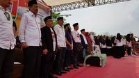 Cawapres Nomor Urut 01, Ma'ruf Amin Saat Bertemu dengan Pendukungnya di Lapangan Gajah Mada, Jalan Bilal, Kota Medan. (Foto: Reza Efendi/Liputan6.com)