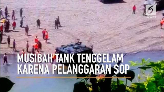 Sebuah tank milik TNi sempat tenggelam dan mengakibatkan 2 orang meninggal.