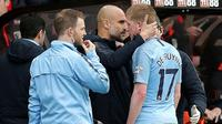 Manajer Manchester City, Pep Guardiola, memastikan Kevin De Bruyne mengalami cedera hamstring. (Adam Davy/PA via AP)