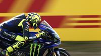 Valentino Rossi saat di MotoGP Belanda. (AP Photo/Peter Dejong)