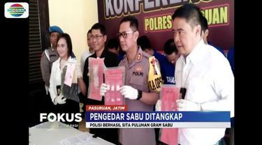 Polres Pasuruan gerebek rumah pengedar narkoba di Prigen dengan barang bukti puluhan gram sabu, alat hisap, dan uang senilai Rp 5 juta.