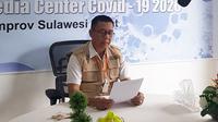 Juru Bicara Gugus Tugas Penaganan Covid-19 Sulawesi Barat Safaruddin Sanusi saat video conference (Abdul Rajab Umar/Liputan6.com)