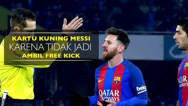 Berita video Lionel Messi diganjar kartu kuning karena tidak jadi ambil free kick saat Barcelona menang 1-0 atas Real Sociedad.