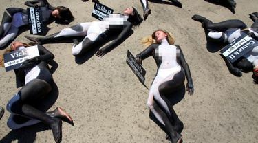 Para aktivis PETA saat menggelar aksi protes terhadap perburuan Paus Pembunuh di Sea World, San Diego, California, Kamis (1/9). Dalam aksinya mereka nekat bertelanjang dada dan mengecat tubuhnya menyerupai Paus Pembunuh atau Orca. (REUTERS/Mike Blake)