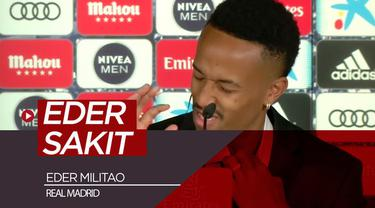 Berita video pemain baru Real Madrid, Eder Militao, sakit saat diperkenalkan klub pada sesi konferensi pers.