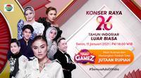 Live streaming Konser raya 26 Tahun Indosiar Luar Biasa, Senin (11/1/2021) pukul 18.00 WIB dapat disaksikan melalui platform streaming Vidio. (Dok. Vidio)