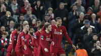 Selebrasi pemain Liverpool saat menjebol gawang Salzburg di Liga Champions (AP)