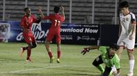 Timnas Indonesia U-16 berselebrasi setelah menjebol gawang Brunei di Stadion Madya, Jakarta, dalam penyisihan Grup G kualifikasi Piala AFC U-16 2020, Jumat (20/9/2019). (Bola.com/Yoppy Renato)
