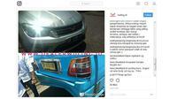 Akun instagram @Wuling_id mengunggah gambar Wuling Confero S tabrakan dengan angkot di Minahasa. (Instagram @Wuling_id)