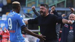 Pelatih Napoli, Gennaro Gattuso, merayakan gol yang dicetak Victor Osimhen saat menghadapi Atalanta laga lanjutan Liga Italia di Stadion San Paulo, Napoli, Sabtu (17/10/2020) malam WIB. Napoli menang 4-1 atas Atalanta. (Alessandro Garofalo/LaPresse via AP)
