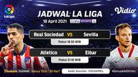 Pertandingan Liga Spanyol Minggu, (18/4/2021) dapat disaksikan melalui platform streaming Vidio. (Dok. Vidio)