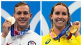 Dua perenang yang berlaga di Olimpiade Tokyo 2020, Caeleb Dressel dari Amerika Serikat di bagian putra dan Emma McKeon dari Australia di bagian putri layak dinobatkan sebagai raja dan ratu Olimpiade Tokyo 2020 berkat raihan medali emasnya dari cabang renang. (Foto: Kolase AP/Gregory Bull)