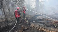 Petugas pemadam kebakaran berupaya melakukan pemadaman di tengah pekatnya asap kebakaran di Kampar, provinsi Riau pada 17 September 2019. Kebakaran hutan dan lahan (karhutla) yang masih terjadi membuat sejumlah wilayah di Provinsi Riau terpapar kabut asap. (ADEK BERRY / AFP)