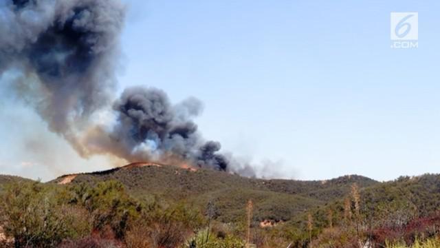 Kebakaran terjadi di Castaic, Los Angeles, api menyebar dengan cepat dan melahap sekitar 3.400 hektar lahan di daerah tersebut.