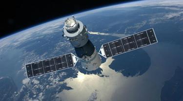 Ilustrasi Tiangong-1 di angkasa luar