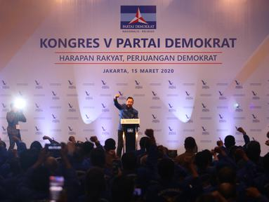 Ketum Partai Demokrat  Agus Harimurti Yudhoyono memberikan pidato usai terpilih secara aklamasi, Jakarta, Minggu (15/3/2020). Keputusan diambil setelah sidang paripurna melakukan verifikasi dan menyatakan AHY memenuhi persyaratan jadi ketum di Kongres V Partai Demokrat. (Liputan6.com/Angga Yuniar)