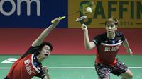 Aksi pasangan ganda putera Indonesia, Kevin Sanjaya / Marcus Fernaldi Gideon pada semifinal Indonesia Open 2019 di Istora Senayan, Jakarta, Sabtu (19/7/2019).  (Bola.com/Peksi Cahyo)