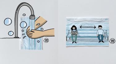 6 Karya Seni dari Masker Ini Kampanyekan Protokol Kesehatan di Masa Pandemi