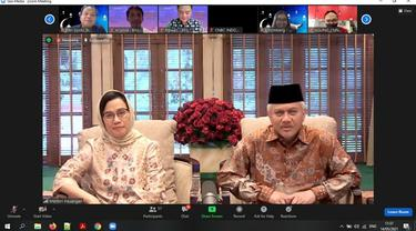 Menkeu Sri Mulyani menggelar silaturahmi daring Kementerian Keuangan untuk menyambut Lebaran 2021 pada Jumat, (14/5/2021). (Dok:Anisyah Al Faqir/Merdeka.com)