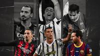 Zlatan Ibrahimovic, Cristiano Ronaldo dan Lionel Messi. (Bola.com/Dody Iryawan)