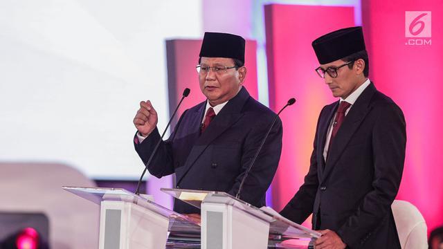 Ekspresi Prabowo Sandiaga Uno Saat Debat Pilpres