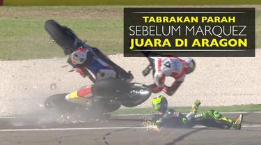 Video tabrakan parah Pol Espargaro dengan Danilo Petrucci sehari sebelum Marc Marquez juara di MotoGP Aragon 2016.