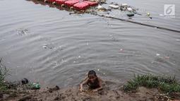 Anak-anak berjalan di tumpukan sampah di kawasan Banjir Kanal Barat, Petamburan, Jakarta, Jumat (9/11). Mendung yang menyelimuti ibukota Jakarta, tidak menyurutkan anak-anak bermain di Sungai Banjir Kanal Barat. (Liputan6.com/Fery Pradolo)