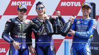 Berkat kemenangan ini, Quartararo sudah mengoleksi empat kemenangan di MotoGP 2021. Dia kian kukuh di klasemen MotoGP 2021 dengan catatan 156 poin. (AP/Peter Dejong)