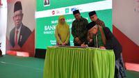 Wakil Presiden (Wapres) Ma'ruf Amin meresmikan Bank Wakaf Mikro Ahmad Taqiuddin Mansur (ATQIA) di Pondok Pesantren NU Al-Manshuriyah Ta'limusshibyan. (Biro Sekretariat Wakil Presiden)
