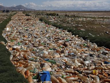 Botol plastik dan sampah mengapung di Sungai Tagaret, yang mengalir ke Danau Uru Uru, dekat Oruro, Bolivia, Kamis (25/3/2021). Sungai ini mengalir ke Danau Uru Uru dengan membawa sampah-sampah yang mencemari danau. (AP Photo / Juan Karita)