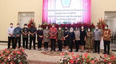 Gubernur Sulut Olly Dondokambey menerima kunjungan kerja Komisi X DPR RI di Wisma Negara Bumi Beringin Manado, Sabtu (10/4/2021).