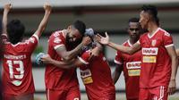Badak Lampung FC meraih kemenangan 1-0 pada laga tandang kontra Bhayangkara FCdi Stadion Patriot Candrabhaga, Bekasi, Jumat (16/8/2019). (Bola.com/Muhammad Iqbal Ichsan)