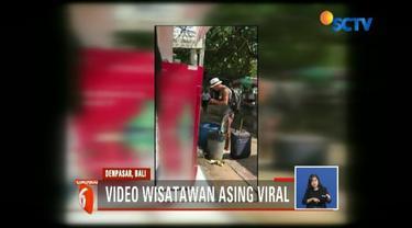 Viral, video seoarnag wisatawan asing mengais makanan di tempat sampah di kawasan Wisata Sanur Denpasar Bali.