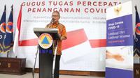 Juru Bicara Penanganan COVID-19 di Indonesia, Achmad Yurianto saat konferensi pers secara Live di Graha BNPB, Jakarta, Rabu (1/4/2020). (Dok Badan Nasional Penanggulangan Bencana/BNPB)