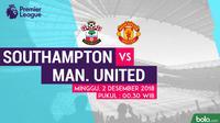 Jadwal Premier League 2018-2019 pekan ke-14, Southampton vs Manchester United. (Bola.com/Dody Iryawan)